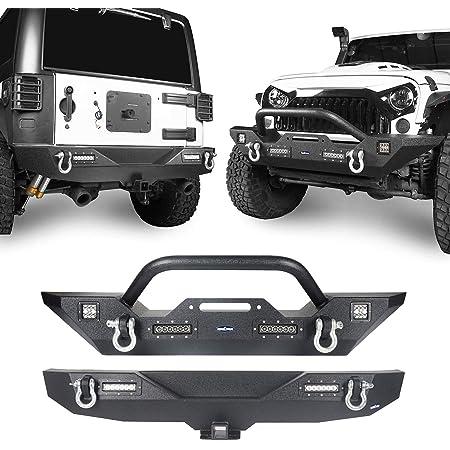 Hooke Road Wrangler JK Front Bumper + Rear Bumper Combo w/All LED Lights Compatible with Jeep Wrangler JK & Unlimited 2007-2018 2/4 Doors
