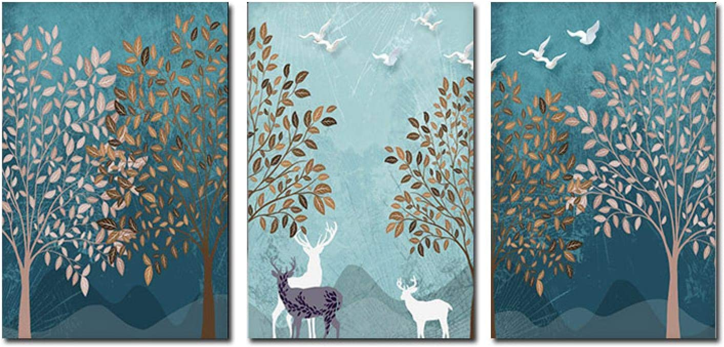 Sunsightly Print on Canvas Nordic Deer C Poster Seasonal Wrap Introduction Forest Landscape Nippon regular agency