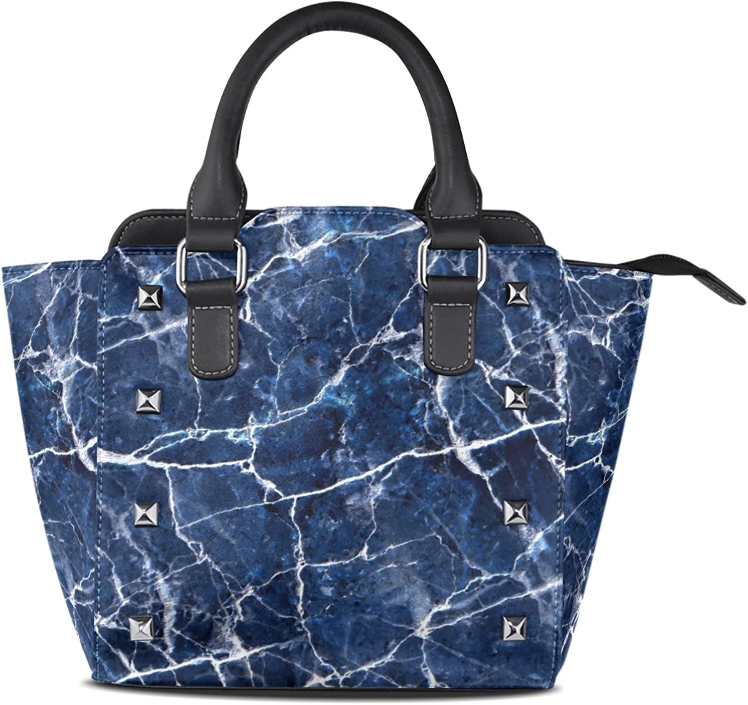 My Little Nest Women's Top Handle Satchel Handbag bluee Marble Texture Pattern Ladies PU Leather Shoulder Bag Crossbody Bag