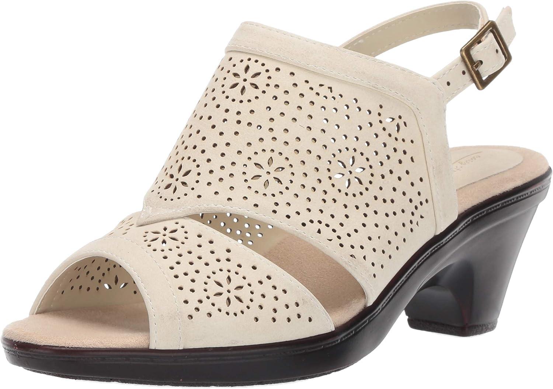 Easy Street Women's Linda Slingback Dress Casual Sandal with Cutouts Heeled