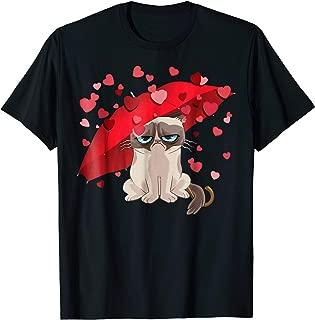 Grumpy Cat Raining Hearts Valentine's Day Graphic T-Shirt