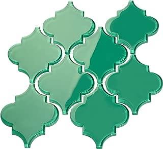 Giorbello Glass Arabesque Tile in Emerald Green - 2 Sheets