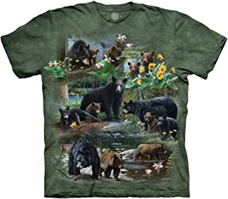 Mountain Collage Adult T Shirt Green