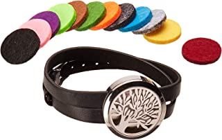 Stainless Steel Aromatherapy Essential Oil Diffuser Bracelet Leather wrap/Hypo-allergenic Surgical Steel Locket Bracelet 12 Color Pads