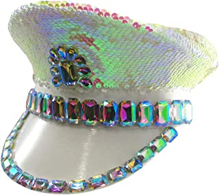 Nicky Bigs Novelties Iridescent Drag Gay Pride Military Sequins Studs Steampunk Festival Captain Hat