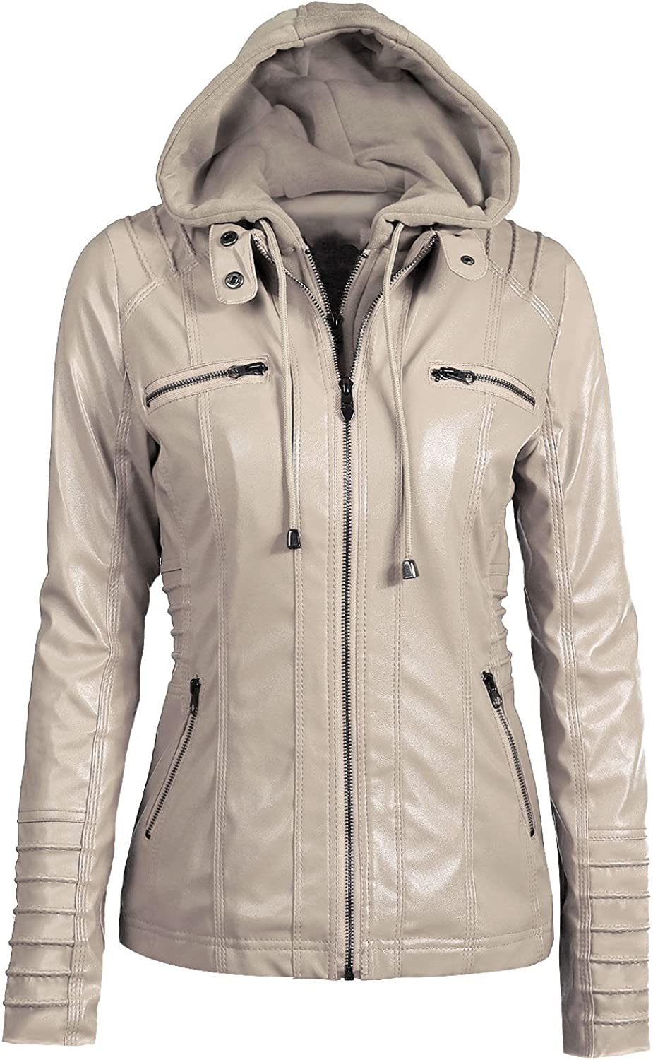 Chowsir Women Vintage Moto Limited time cheap sale mart Biker with Rmovable Faux Hoodie Leath