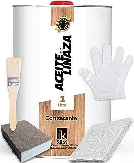 SIKD – Kit Aceite de Linaza para Madera con Secante. Soluciona las Largas Esperas y Seca Rápido. Set Restauración que Prot...