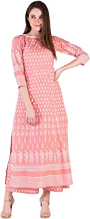 Amayra Women's Cotton Straight Kurti With Palazzos(Peach)
