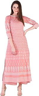 Amayra Women's Cotton Straight Kurti With Palazzos(Peach)