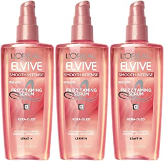 L'Oreal Paris Elvive Smooth Intense Frizz Taming Serum, 3.4 Ounce (Pack of 3)