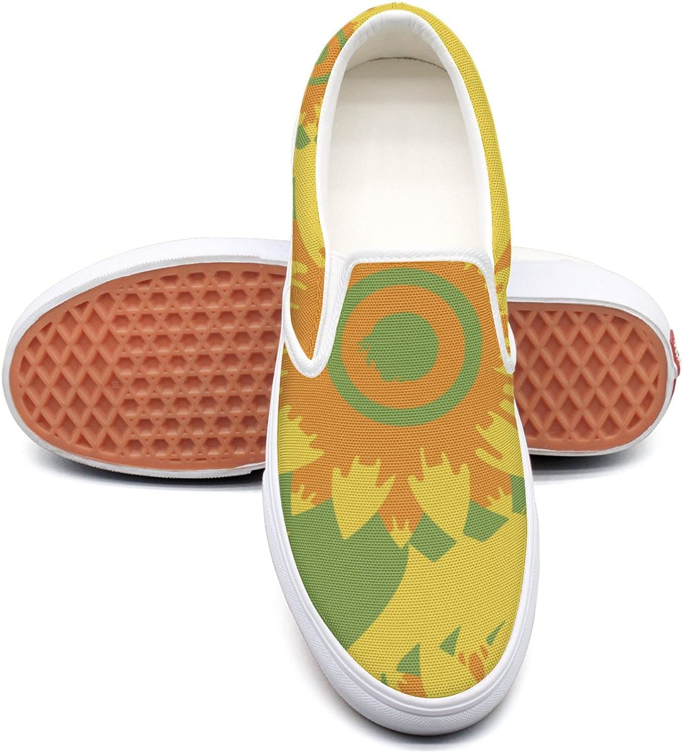 RegiDreae Canvas Slip On Sneakers for Women Paint Abstract Sunflower Fashion Sneaker