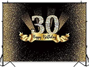 Allenjoy 8X6ft Durable Fabric 30th Gold and Black Birthday Photography Backdrop Adult Golden Glitter Diamonds Wrinkles Background Thirty Years Old Age Party Decoration Photo Banner Photobooth