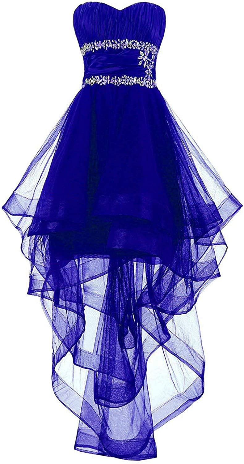 JINGDRESS 2019 Tulle Prom Dress High Low Strapless Beaded A Line Homecoming Dresses for Women Girls