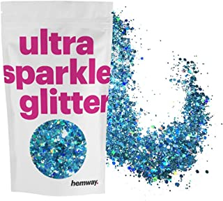 Hemway Turquoise Holographic Mix Glitter Chunky Multi Purpose Dust Powder Arts & Crafts Wine Glass Decoration Weddings Flowers Cosmetic Face Eye Body Nails Skin Hair Festival 100g