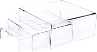 Set of 3 Crystal Clear Low Profile Acrylic Display Riser - Jewelry, Cosmetics, Figure Showcase - 2 Pack