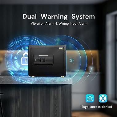 Safe Box, ADIMO Model 35 Reinforced Alloy Safe Lock Box ,Digital Safe Box with Intelligent Alarm System, 1.2 Cubic Feet Cabin
