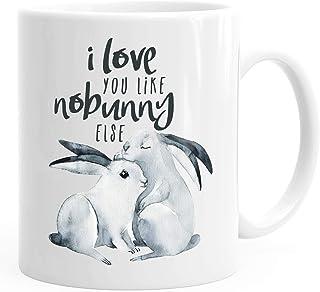Taza de café con diseño de conejo I love you like nobunny else regalo amor frase Liebespruch Juego de palabras MoonWorks®,...
