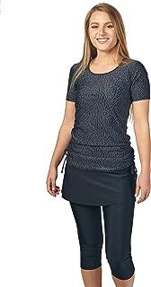 Modest Swimsuit for Women: Short Sleeve Rash Guard Swim Shirt w/Skirted Swim Capri Leggings (S-2X) Tested UPF 50+