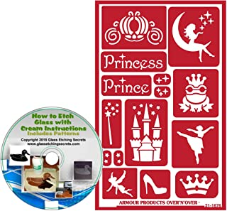 Princess + Prince Reusable, Adhesive Stencils: Fairytale Set with Castle, Wand, Fairy, Crown, Toad, Carriage, Cinderella & Fairy on Moon Glass Etching Stencils + How to Etch CD