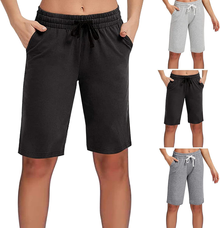 Lroveb Women's Bermuda Shorts Fashion Loose Casual Short Sweatpants Summer Workout Knee Length Five Point Pants