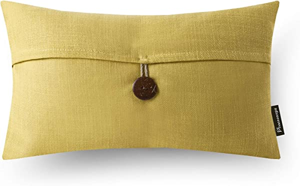 Phantoscope Single Button Linen Decorative Throw Pillow Case Cushion Cover Yellow 12 X 20 Inches 30 X 50 Cm