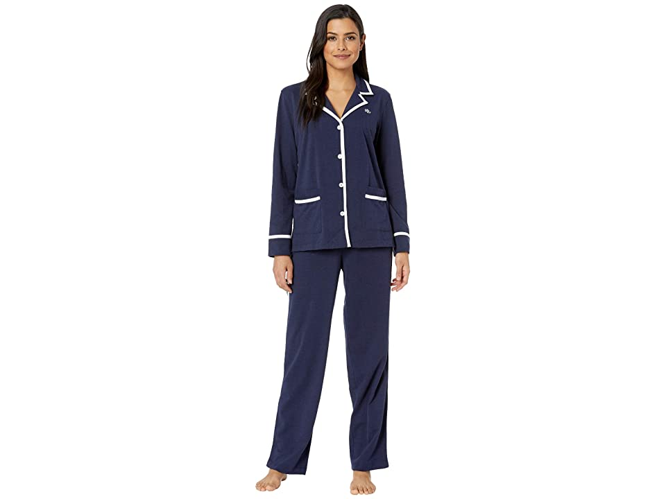 LAUREN Ralph Lauren Knit Twill Notch Collar Pajama Set (Navy) Women