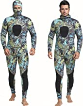 Nataly Osmann 3mm Camouflage Spearfishing Wetsuits 2-Pieces Hooded Scuba Diving Suit for Men