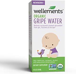 Wellements Organic Gripe Water, 4 Fl Oz, Eases Baby's Stomach Discomfort, Free From Dyes, Parabens, Alcohol, Preservatives