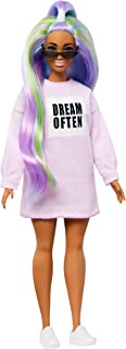Barbie Fashionistas Doll with Long Rainbow Hair Wearing Sweatshirt Dress and Accessories, for 3 to 8 Year Olds​