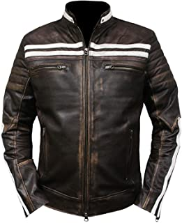 Cafe Racer Vintage White Stripped Distressed Brown Motorcycle Leather Jacket