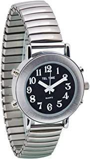 Tel-Time Ladies Chrome Talking Watch - Black Face, Expansion Band