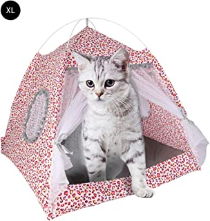 laamei Cat Bed House, Cat Tent Bed, 2-in 1 Self-Warming Comfortable Triangle Cat Igloo Bed Pet Tent House …