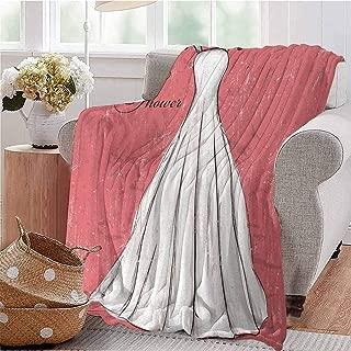 SSKJTC Printing Artwork Blanket Retro Pink Grunge Backdrop Wedding Bride Dress Party Vintage Image Coral Black and White Bed Sleeping Travel Pets Reading W51 xL60