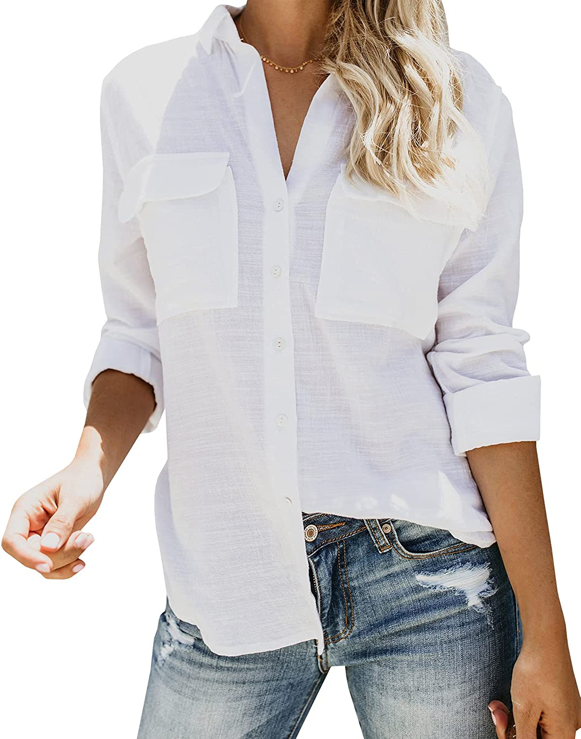Max 72% OFF Colorado Springs Mall Cisisily Women's Long Sleeve Button Casual B Vintage Shirts Down