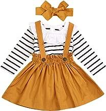 Toddler Girls 3pcs Black White Stripes Floral Ruffle Tops Jumpsuit + Suspender Skirt Set
