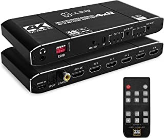 ULBRE 4K HDMI Matrix Switch 4x2 HDMI Matrix Switcher Splitter 4 in 2 Out with EDID Extractor and IR Remote Control, Suppor...