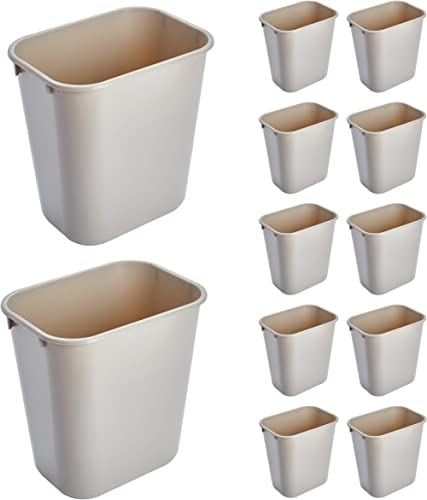 Rubbermaid Commercial Products FG295500BEIG Plastic Receptacle Wastebasket, Beige (Pack of 12)