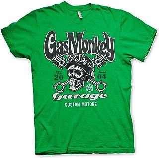 Gas Monkey Garage Custom Motors Skull Hombre Camiseta Gris Oscuro, Regular