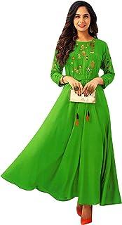 فستان كورتا هندي طويل للنساء من ladyline Anarkali فستان طويل يصل إلى الأرض