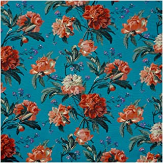 Teal & Coral Floral 'Decadent Blooms' Liberty Lawn Cotton Handkerchief
