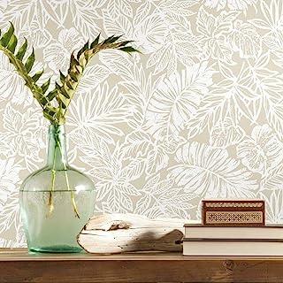 RoomMates RMK11435WP Beige Batik Tropical Leaf Peel and Stick Wallpaper