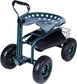 KARMAS PRODUCT SteerableGarden Stool Cart with Tool Trayand Storage Basket Rolling Work Seat Heavy Duty Scooter with Extendable Steer Handle Green