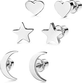 3 Pairs Stainless Steel Moon Star and heart Plain Stud Earrings for Women and Girls
