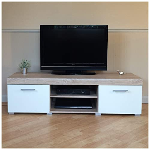 deb065fa3664 Sydney White & Sonoma Oak Large 2 Door TV Cabinet 140cm Unit