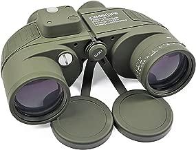 Kingscope 7X50 HD Military Marine Binoculars with Illuminated Reticle Rangefinder & Compass, BAK4 Porro Prism - Floating/Waterproof/Fogproof for Navigation, Boating, Fishing, Water Sports, Hunting
