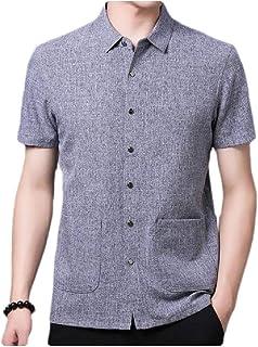 MogogNMen Linen Buttoned Summer Relaxed Fit Short-Sleeve Business T-Shirts