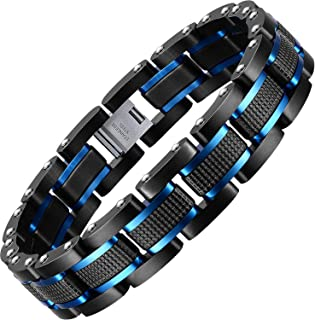 Holizaly Men's Stainless Steel Two Tone Square Link Bracelet, Black and Blue Ion Plated Black