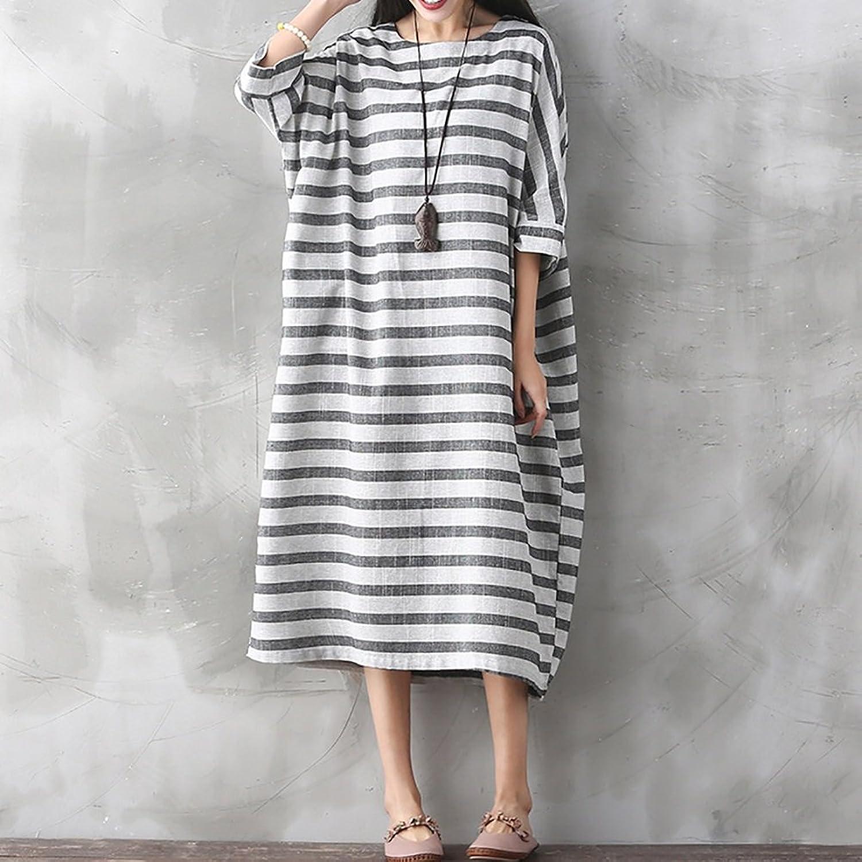 Lady's Dress Women Dresses Stripe Long Sleeve Round Neck Dress Summer Loose Casual Beach Short Sleeves Long Dress Solid TShirt Dress Temperament ( Size   L , Style   1 )