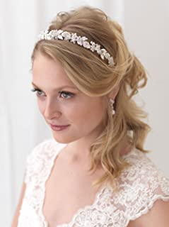 USABride Floral Headband Rhinestone Flower Bridal Headpiece Silver Plated with Rhinestones TI-3300
