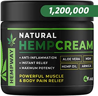 100% Natural Hemp Cream for Pain Relief - 1,200,000 Arthritis Pain Relief Cream - Hemp Oil for Pain Relief & Joint Pain Relief - Doctor Formulated Pain Cream - Hemp Lotion for Pain Relief